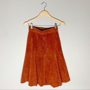 70s suede button front skirt